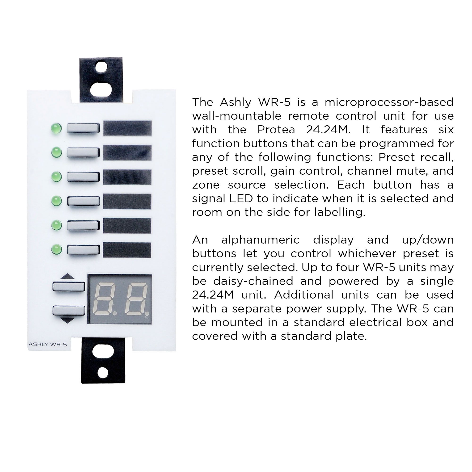 Ashly neWR-5 Programmable Zone Controller Wall Mount Six Button Network Model